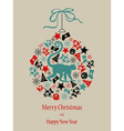 Christmas card Monkey in black-red-green vector image vector image