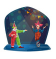 circus clown characters big top funny funsters vector image vector image