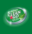 clean and go hands antiseptic logo label aloe vera vector image vector image