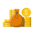 cloth bag with money golden coins stacks