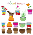 colorful flowerpots set 2 vector image vector image