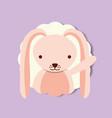 cute portrait pink rabbit decoration vector image