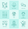 dentist orthodontics line icons dental care vector image vector image