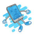 die smartphone after water vector image vector image