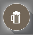 glass of beer sign white icon on brown vector image vector image