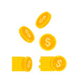 gold coins icon isolated flat vector image