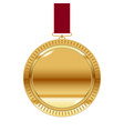 gold medal on red ribbon isolated on white vector image vector image