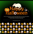 happy halloween poster with big white rat vector image vector image