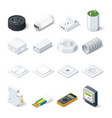 Home electric isometric icon set vector image vector image