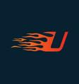 letter u flame logo speed logo design concept vector image