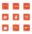 money invasion icons set grunge style vector image
