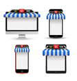 On line store Sale Gadget with awning set vector image