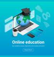online education isometris banner planet vector image vector image
