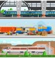 Rail Transport Horizontal Flat Banners vector image
