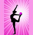 rhythmic gymnast silhouette on abstract vector image vector image