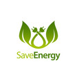 save energy stem leaves with electric plug icon vector image vector image