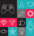 set of line game icons vector image vector image