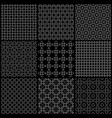set of nine black and white seamless pattern vector image vector image
