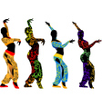 Silhouettes dancers east vector image vector image