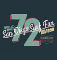 surfing t-shirt graphic design california surfers vector image vector image