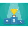 trophy on sports podium vector image