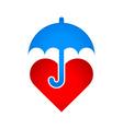 Umbrella protects heart vector image vector image