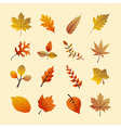 Vintage autumn season tree leaves set EPS10 file vector image vector image
