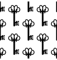 Vintage keys with floral ornament seamless pattern vector image