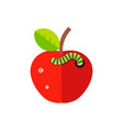 wormy red apple with a green leaf flat vector image vector image