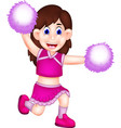 cute cheerleading cartoon action with laugh vector image