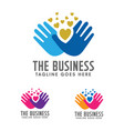 hands care silhouette logo concept vector image