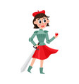 girl woman dressed as jane of arc french heroine vector image