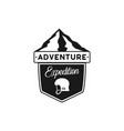 adventure logo - expedition badge with mountains vector image vector image