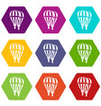 balloons icon set color hexahedron vector image vector image