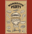 bbq party poster with hand drawn design elements vector image vector image