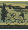 Bicyclists traveling around the country vector image