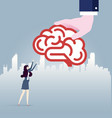 big hand gives idea brain to businesswoman vector image vector image