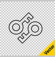 black line cryptocurrency key icon isolated on vector image vector image