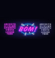 bom neon text design template comic speech vector image