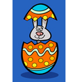 bunny in easter egg cartoon vector image