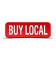 buy local red three-dimensional square button vector image