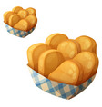 chicken nuggets in the paper basket icon vector image