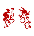 Chinese calligraphy dragon word vector image