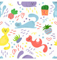 cute seamless pattern with house plants cats and vector image
