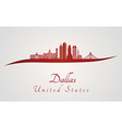 Dallas skyline in red vector image vector image