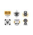 fitness club logo design set retro emblem vector image vector image