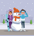 friends with snowman cartoon vector image