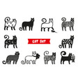 funny cats set black cats silhouette collections vector image vector image