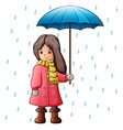 girl under raindrops with u vector image