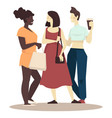 girlfriends meet for shopping day and spend time vector image